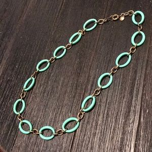 JCrew aqua and gold large link necklace.